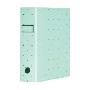 $6.99, Otto A4 Lever Arch File 70mm Foil Teal Polkadot