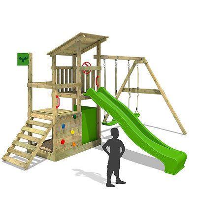 FATMOOSE FruityForest Fun XXL Holz-Spielturm Kletterturm Doppelschaukel Rutsche