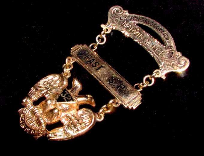 Vintage 12K-fill GOLD EAGLE 32 Deg SCOTTISH RITE SOVEREIGN PRINCE JEWEL! Masonic