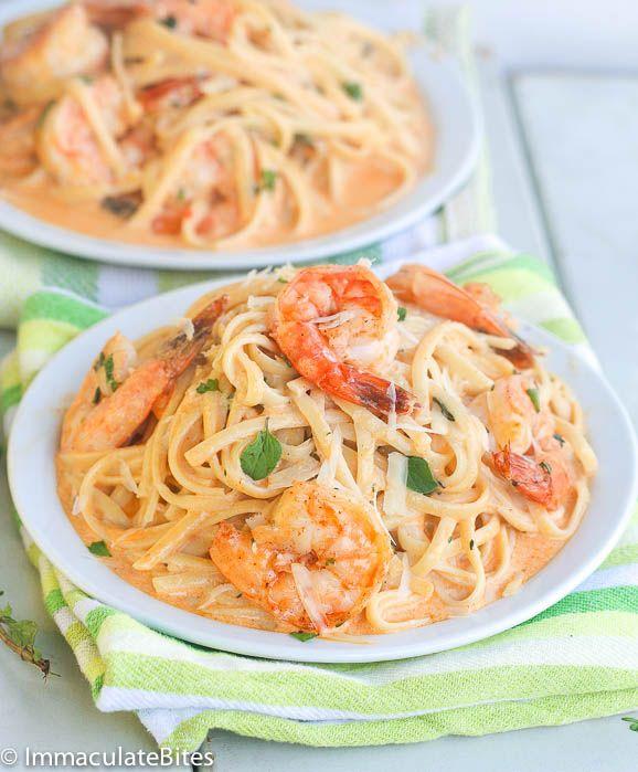 Creamy Herb  Shrimp Spaghetti