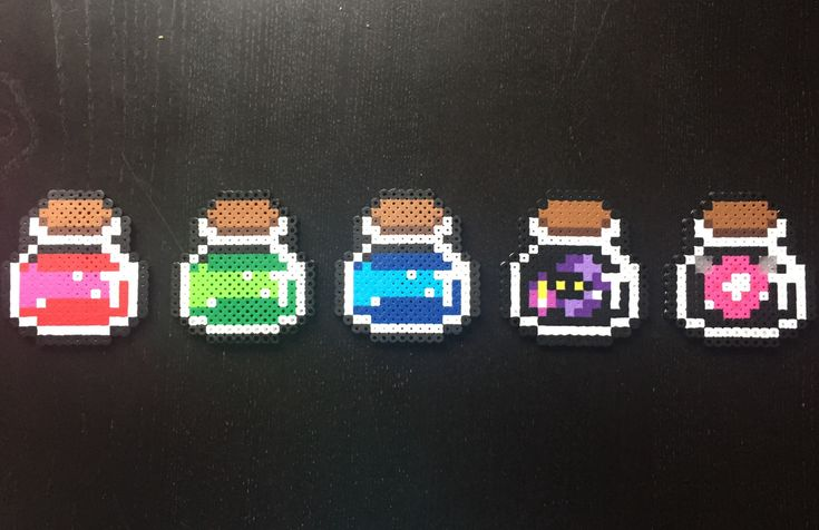 bobpretzel:  Can't stop with these Perler beads. Some legend of Zelda potion bottles.