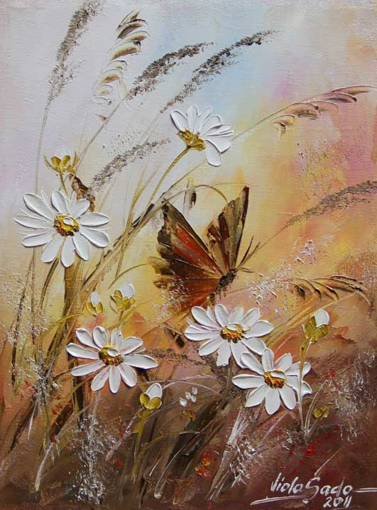Wildflowers, daisies and butterfly painting. Viola Sado