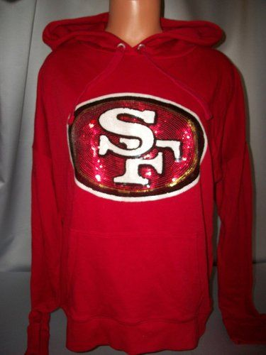 Victorias Secret Pink San Francisco 49ers Sequins Bling Slouchy  Hoodie NWT S