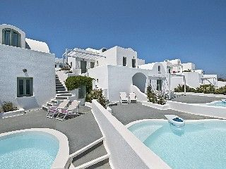Caldera view apartment in Akrotiri with private plunge pool and terraces. -- did i mention I cannot get enough of this architechture?