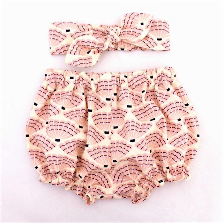 Organic Seashells Baby Bloomer and Headband Set, Pink Organic, baby knot headband, baby girl bloomers, baby girl headband, bloomers set by OrganicMinikins on Etsy https://www.etsy.com/listing/536032611/organic-seashells-baby-bloomer-and