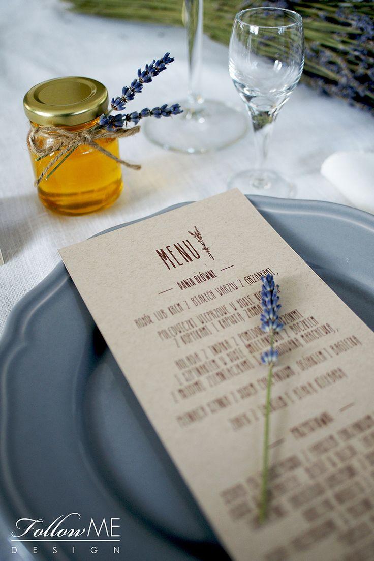 Karty menu z lawendą, Podziękowanie dla gości - mini miodziki z lawendą / Rustykalne Dekoracje ślubne od FollowMe DESIGN / Menu card with Lavender / Wedding Favors - Honey Jar Favors with Lavender / Rustic Wedding Decorations & Details by FollowMe DESIGN
