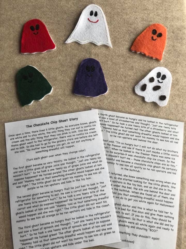 This felt story comes with a Mother ghost and her five children who change color after they eat something that she has told them not to. Perfect to teach children the importance of following the rules and consequences. Color recognition. Fine motor skills.