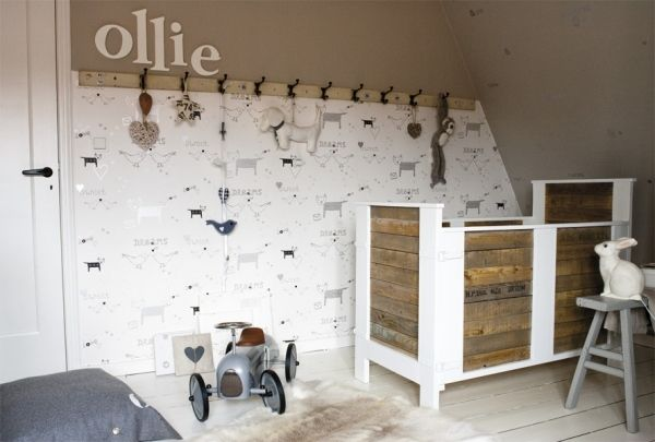 tapeten mit vogelmuster kinderzimmer skandinavisch braun. Black Bedroom Furniture Sets. Home Design Ideas