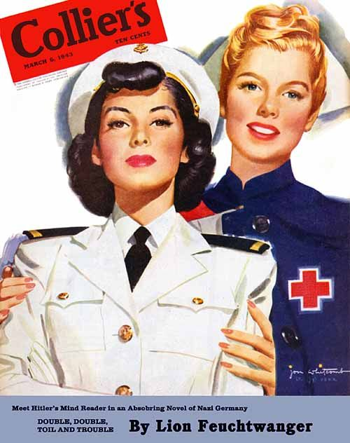Red Cross nurse & a WAVE (?) illustrated by Jon Whitcomb, on the cover of Collier's magazine cover, 1943.