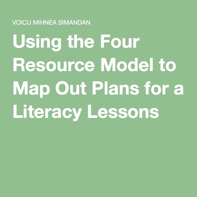 Using the Four Resource Model to Map Out Plans for a Literacy Lessons