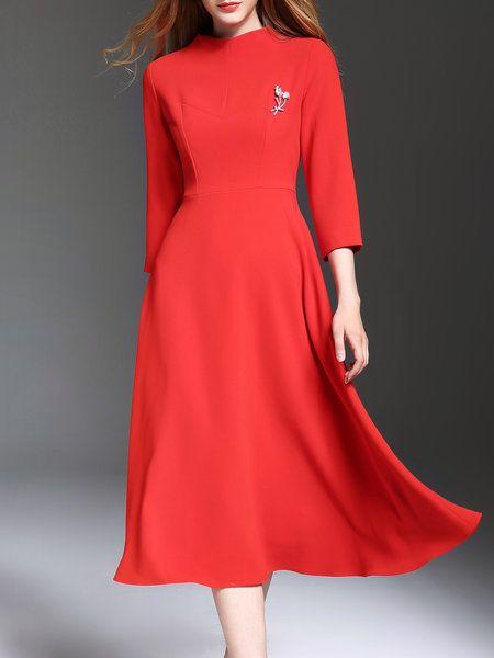 Shop Midi Dresses - Red Plain Embroidered Elegant Midi Dress online. Discover…