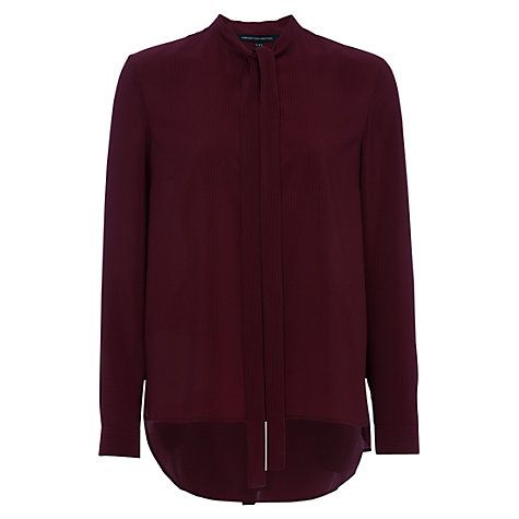 Buy French Connection Pippa Plains Long Sleeve Tie Neck Shirt Online at johnlewis.com