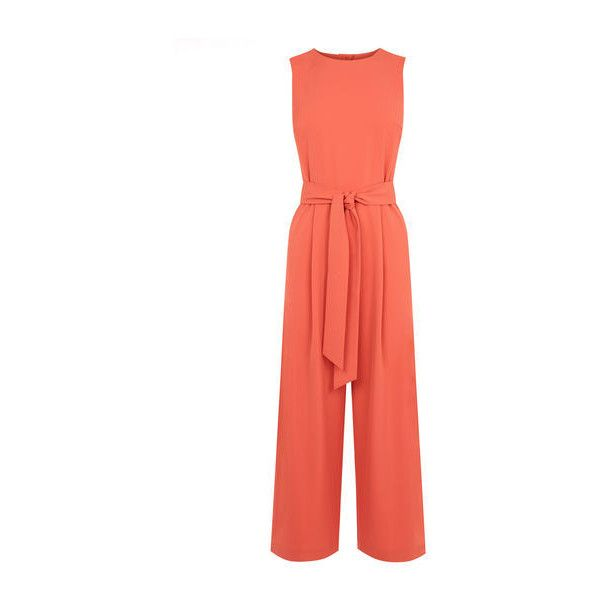 Warehouse Open Back Jumpsuit ($77) ❤ liked on Polyvore featuring jumpsuits, coral, red jumpsuit, sleeveless jumpsuit, warehouse jumpsuit, coral jumpsuit and open-back jumpsuits
