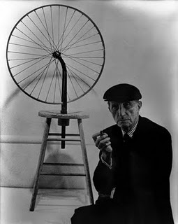 "Marcel Duchamp with his piece ""Bicycle Wheel"", the first of his ""ready-made"" pieces, from 1913."