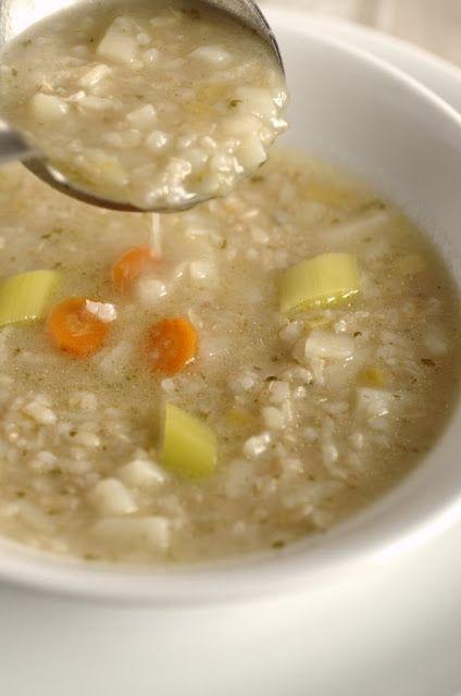 Minestra di riso integrale e porro