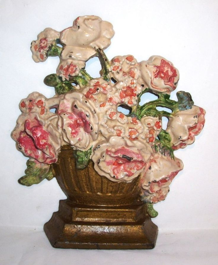 VINTAGE CAST IRON FLOWER/ROSE BOUQUET BASKET DOORSTOP ANTIQUE HUBLEY? DOOR  STOP #Hubley