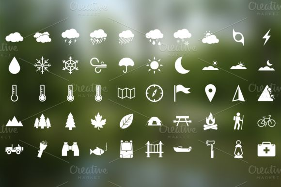 Parks and Rec - 50 Outdoor Icons ~~ Inspired by the icons seen on park service signage, we decided to create our own set of 50 outdoor-themed icons. Included in the set are icons related to weather, navigation, camping and outdoor recreation.