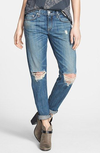 Blue Ripped Boyfriend Jeans by rag & bone/JEAN. Buy for $242 from Nordstrom