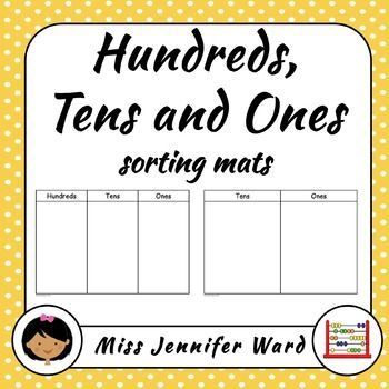 Hundred, Tens and Ones sorting mats. 5 versions of HTO and 5 versions of TO. Colour and Blackline. A4 and Letter. Updated to be even better!