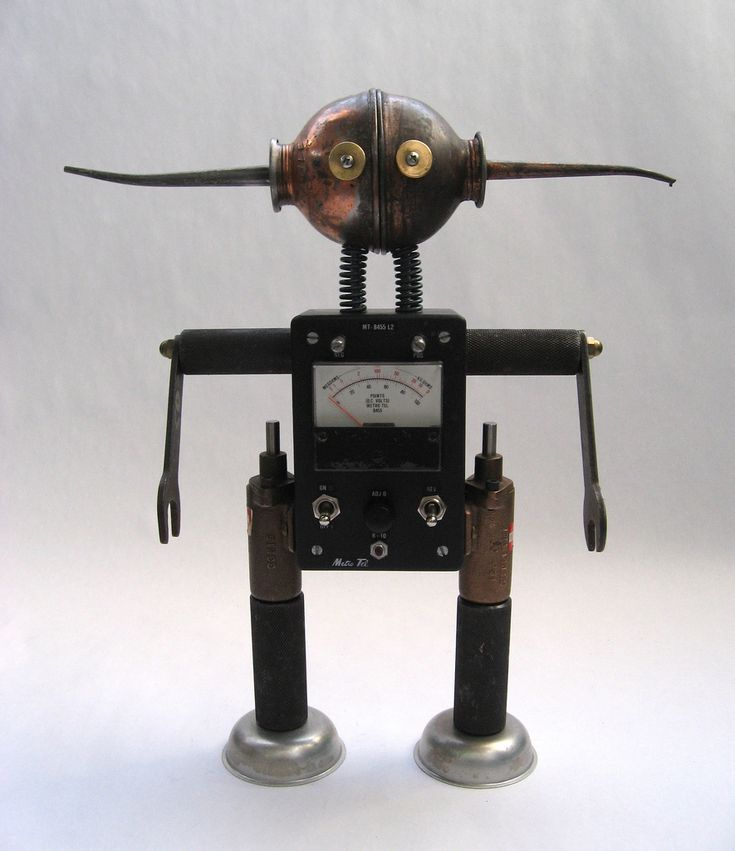 https://flic.kr/p/66nvBY | Metro - Robot Assemblage Sculpture by Brian Marshall | Robot sculpture assembled from found objects by Brian Marshall - Wilmington, DE. Items included in my sculptures vary from vintage household kitchen items to recycled industrial scrap. Some of my favorite items to use are old oil cans, aluminum measuring spoons, electrical meters, retro blenders, anodized cups, and pencil sharpeners.