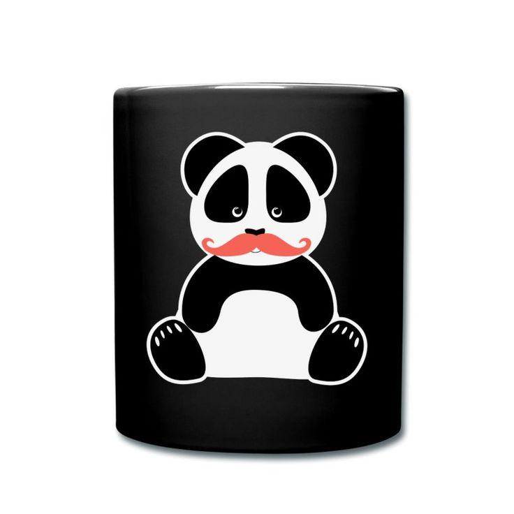 Niedlicher Nerd Panda-Bär mit rotem Bart - Moustache-Motiv. Lustige Karikatur.