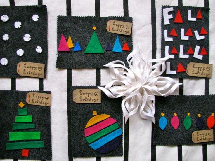Weihnachtskarte aus Stoff selber machen - Bastelanleitung