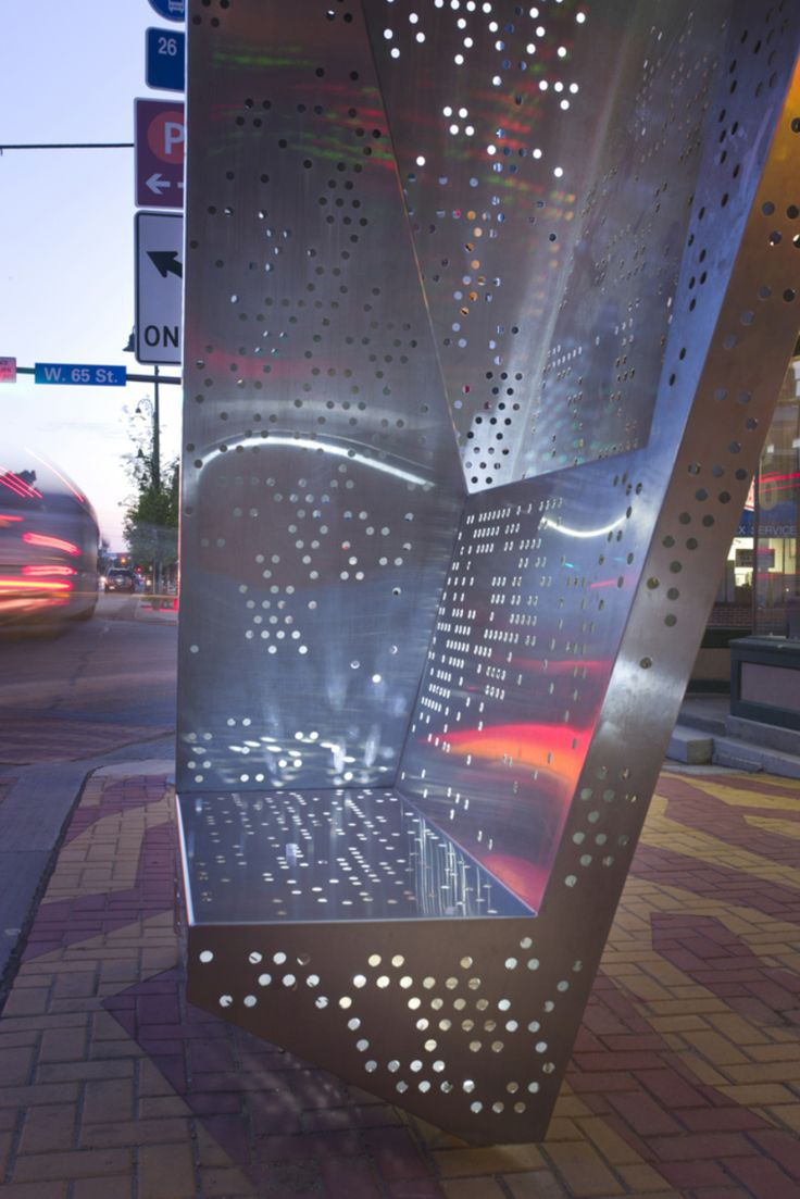 Gordon Square Bus Shelters | Perforated Metal seat might be unpleasant on a colder day