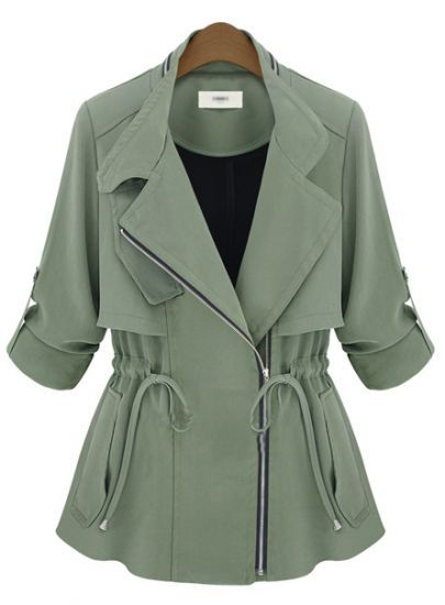 Army Green Notch Lapel Long Sleeve Drawstring Coat