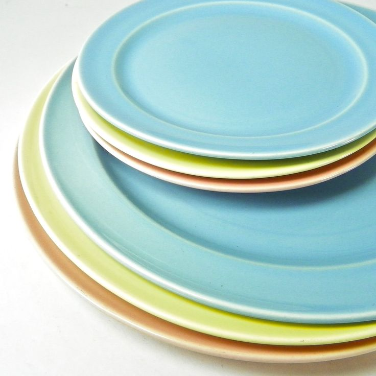 6 Lu-Ray Pastel Plates, Pink, Blue, Yellow, 3 Dinner 3 Bread/Dessert, Vintage Midcentury Dinnerware by OldRedHenVintage on Etsy