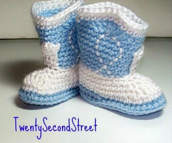 Детские пинетки голубые и белые ковбойские пинетки для новорожденного фото prop