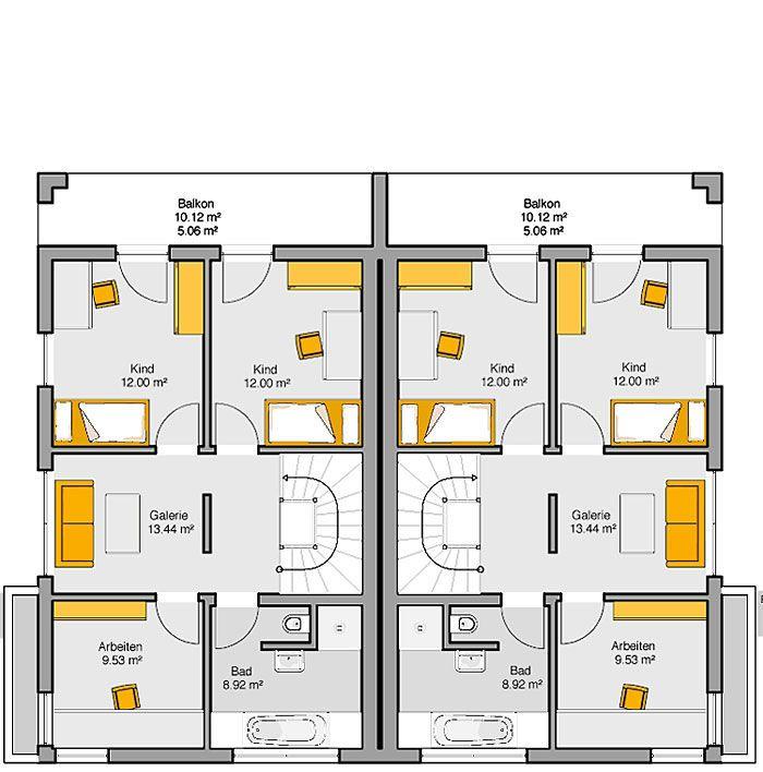 Fertighaus Doppelhaus Gemello FD 280 Grundriss OG 1