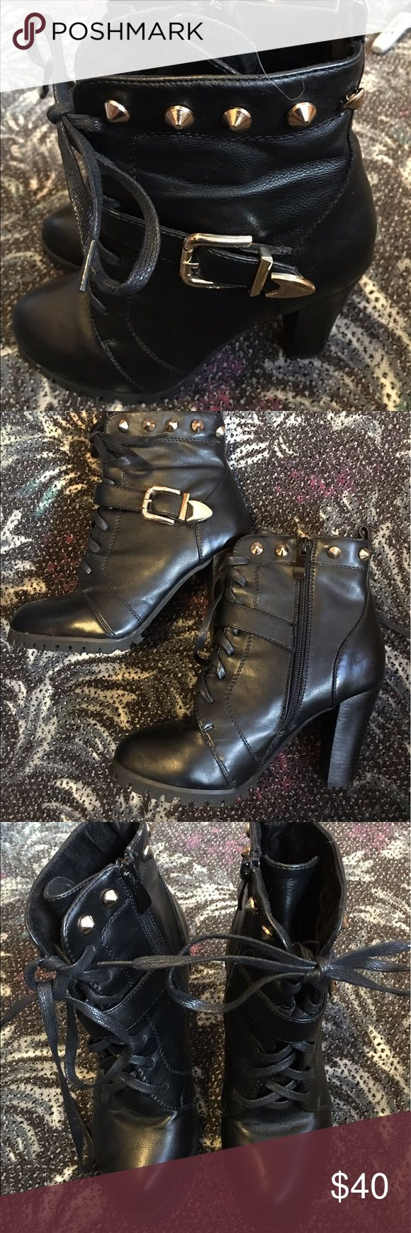 Studded combat boots size 5.5 worn once Small scuff on one shoe low platform style soles with high heels. Zippers and laces edgy and super cute. Faux leather Shoes Ankle Boots & Booties