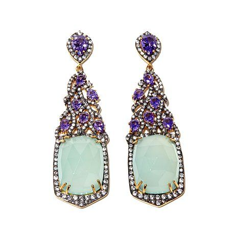 "Facets Aqua Chalcedony & CZ ""Feather"" Drop Earrings"