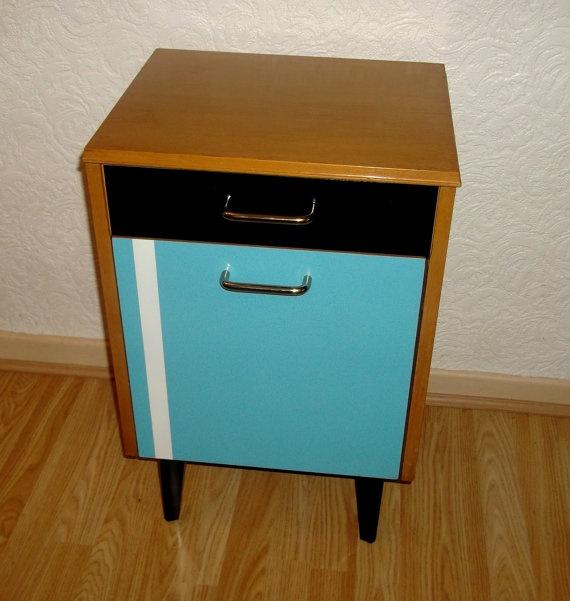 Vintage retro 50s lebus side end table bedside by for Funky bedside cabinets