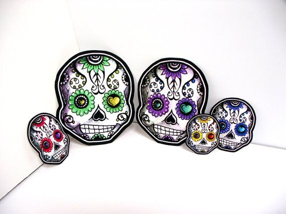 Sugar skull family car window sticker set vinyl day of the dead decals set of 3 mom dad kid add additional kids