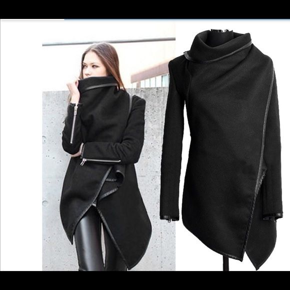Black drape waterfall coat. Size XXL but fits like a Large. New with tag. Asos Jackets & Coats