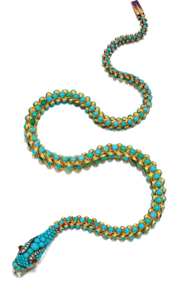 GOLD, TURQUOISE, GARNET AND DIAMOND NECKLACE, 1850S. Designed as an articulated serpent set with cabochon turquoise, the head decorated with rose diamonds and garnet eyes