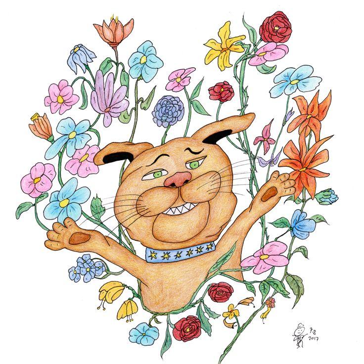Hondje bloem (canvas) – Cabriodroom webshop tekeningen