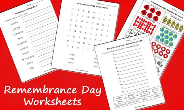 Remembrance day worksheets - free!