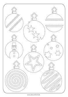 Weihnachtliches Nachfahren - Ein Nachfahrblatt mit verschiedenen Weihnachtskugeln. Nachfahrübungen trainieren die Aufmerksamkeit, Feinmotorik und Wahrnehmung – wichtige Voraussetzungen zum Lesen, Schreiben und Rechnen.