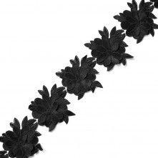 """Metallic+Black+3D+Floral+Lace+Trim+-+5.5"""""""