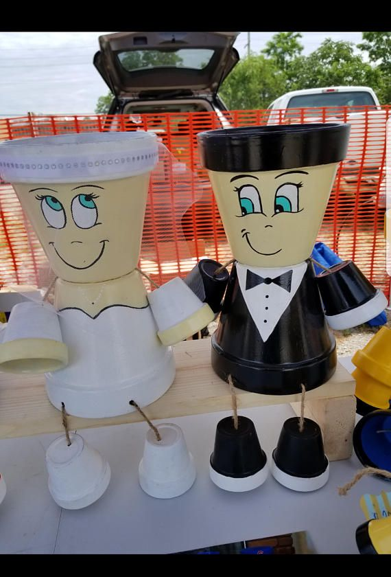 Wedding couple pot person. This is an original, one of a kind wedding gift for that special couple. Give them something to remember This can be the best personalized gift because this wedding couple doesnt only come in black and white. You can make your wedding couple to match the