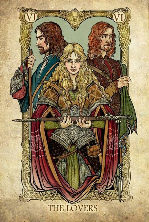 Lord of the Rings Tarot - The Lovers - http://sceithailm.deviantart.com/gallery/42629932