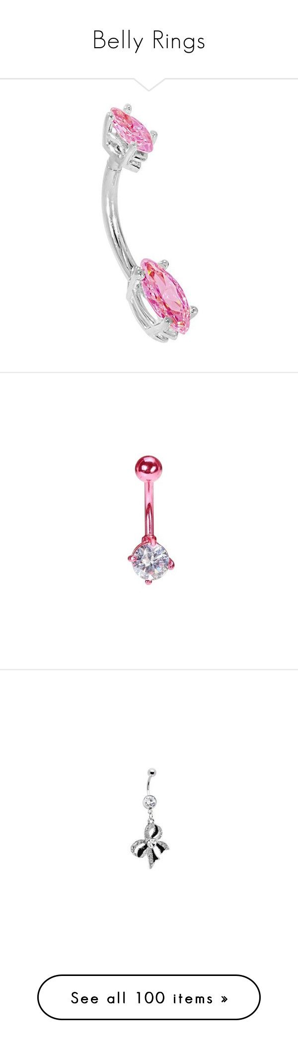 """""""Belly Rings"""" by ohgoditsyou-k ❤ liked on Polyvore featuring jewelry, handcrafted jewelry, body jewellery, white gold jewellery, petite jewelry, white gold body jewelry, belly rings, clear jewelry, belly button rings jewelry and neon pink jewelry"""
