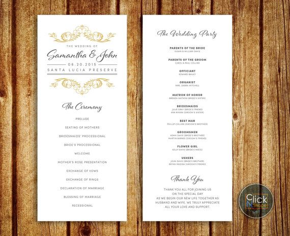 Clic Wedding Program With Gold Grey Colors Design Can Be Customize To Match Your