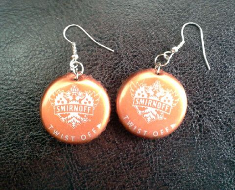 "Handmade Smirnoff Beer Bottle Cap Earrings by MissAbbyRose, $6.50 #Smirnoff #beer #handmade #bottlecapearrings #beerart #beerbottlecaps #bottlecapart MAY SALE: 1ST THROUGH 31ST. GET $5 OFF OF $20+ WITH THE CODE ""MAY2525"". GET ADDITIONAL $1 SHIPPING THROUGH"