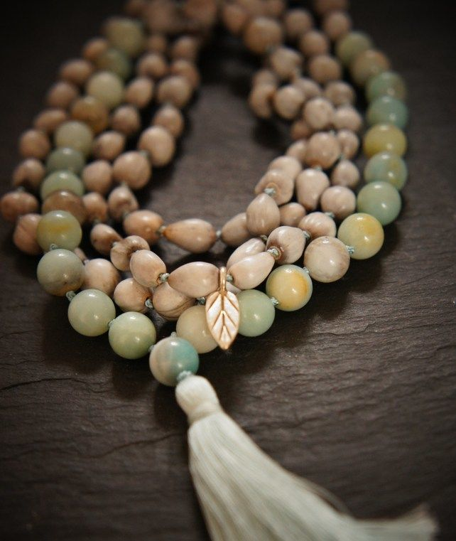108 Heart Chakra Mala, Amazonite, Silver, Vaijayanti Seed Yoga Necklace £49.00