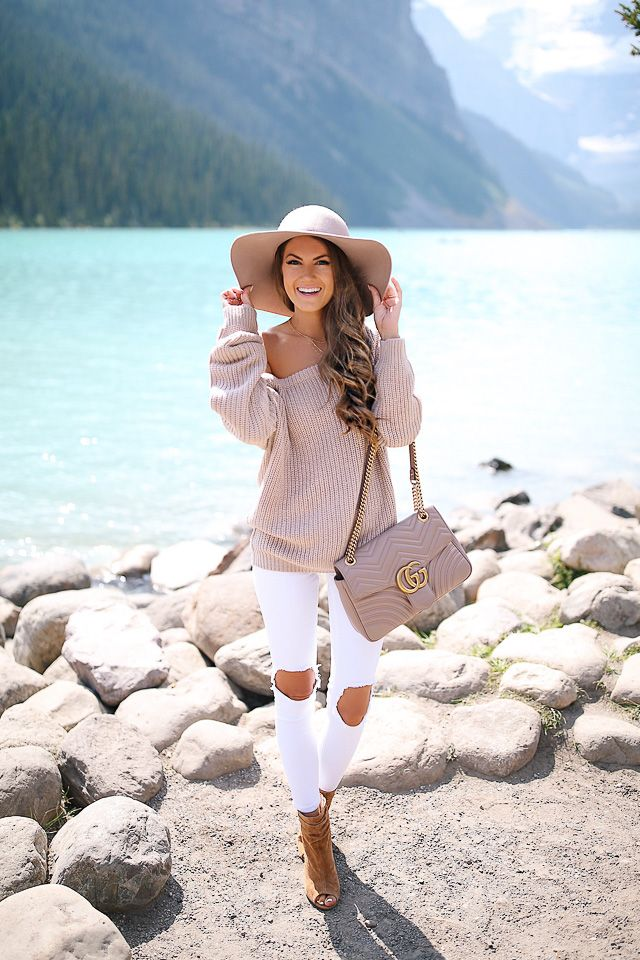 Missguided off-the-shoulder sweater ($26) // white pants // Gucci Marmont handbag peep toe booties // choker necklace set...