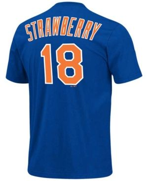Majestic Men's Darryl Strawberry New York Mets Cooperstown Player T-Shirt - Blue