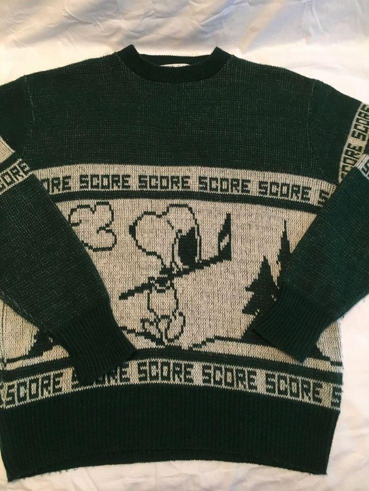 Snoopy's World's Greatest Sweater Large VTG 1970's Hockey Golf Score Arrow   #Arrow #Everyday